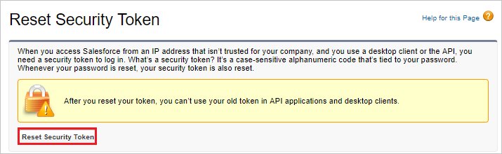 Reset Security token